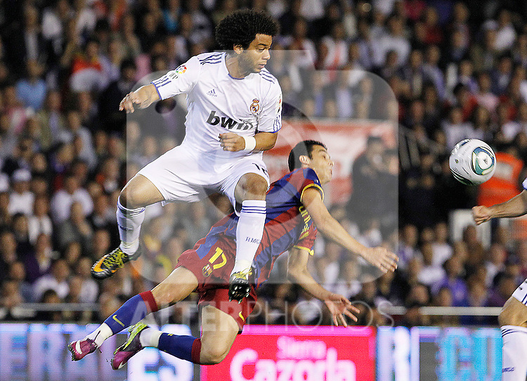 FC Barcelona's Pedro Rodriguez (r) and Real Madrid's Marcelo Vieira (l) during King's Cup 2001 Final match.April 20,2011. (ALTERPHOTOS/Acero)
