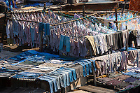 Traditional Indian professional hand laundry, Dhobi Ghat, in Mahalaxmi area of Mumbai, India