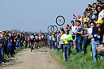 The peleton on one of the pave sectors during the 116th edition of Paris-Roubaix 2018. 8th April 2018.<br /> Picture: ASO/Pauline Ballet | Cyclefile<br /> <br /> <br /> All photos usage must carry mandatory copyright credit (&copy; Cyclefile | ASO/Pauline Ballet)