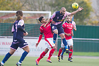 Ashley Carew of Dulwich Hamlet clears under pressure during Harlow Town vs Dulwich Hamlet, Buildbase FA Trophy Football at The Harlow Arena on 11th November 2017
