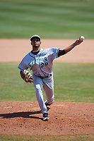 Daytona Tortugas relief pitcher Kevin Canelon (29) delivers a pitch during a game against the Dunedin Blue Jays on April 22, 2018 at Dunedin Stadium in Dunedin, Florida.  Daytona defeated Dunedin 5-1.  (Mike Janes/Four Seam Images)