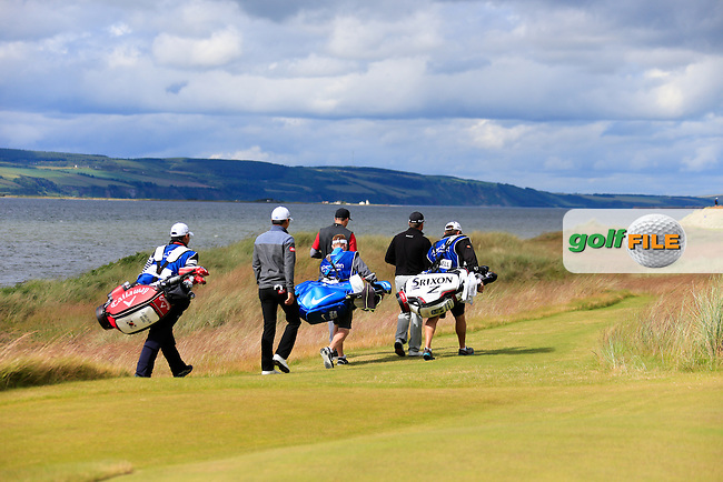 Graeme McDowell (NIR), Ross Fisher (ENG) and Jeunghun Wang (KOR) during round 2 of the Aberdeen Asset Management Scottish Open 2016, Castle Stuart  Golf links, Inverness, Scotland. 08/07/2016.<br /> Picture Fran Caffrey / Golffile.ie<br /> <br /> All photo usage must carry mandatory copyright credit (&copy; Golffile | Fran Caffrey)