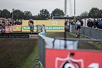 World Champion Wout Van Aert (BEL/Crelan CHarles) chasing a bunnyhopping Mathieu van der Poel (NED/Beobank Corendon.<br /> <br /> cx Telenet Superprestige Gieten 2017 (NED)