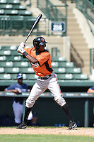 Baltimore Orioles outfielder Carlos Jean (44) during an Instructional League game against the Tampa Bay Rays on September 15, 2014 at Ed Smith Stadium in Sarasota, Florida.  (Mike Janes/Four Seam Images)