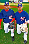 13 March 2008: Washington Nationals' pitcher Luis Ayala (left) poses with catcher and fellow countryman Humberto Cota (right) prior to a Spring Training game against the Florida Marlins at Space Coast Stadium, in Viera, Florida. The Marlins defeated the Nationals 2-1 in the Grapefruit League matchup...Mandatory Photo Credit: Ed Wolfstein Photo