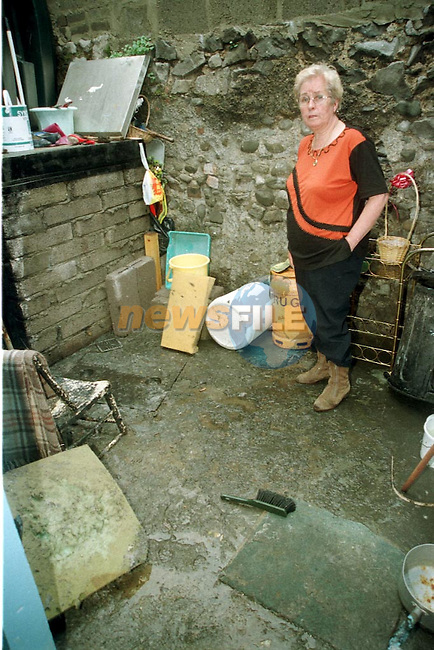 Annie Fitzpatrick from Duleek street with the sewage in her back yard that flooded her house after the heavy rains of Thursday last..Pic Fran Caffrey / Newsfile