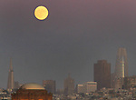 Septembers full moon rises about San Francisco TransAmerican pyramid as seem from Crissy Field,  San Francisco, CA.