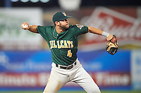 Lynchburg Hillcats third baseman Paul Hendrix (4) throws to first base during a game against the Wilmington Blue Rocks on June 3, 2016 at Judy Johnson Field at Daniel S. Frawley Stadium in Wilmington, Delaware.  Lynchburg defeated Wilmington 16-11 in ten innings.  (Mike Janes/Four Seam Images)