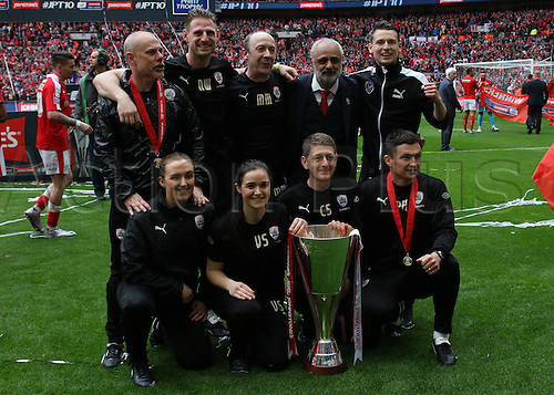 03.04.2016. Wembley Stadium,  London, England. Johnstones Paint Trophy Football Final Barnsley versus  Oxford Utd. Barnsley management staff celebrate with the the trophy