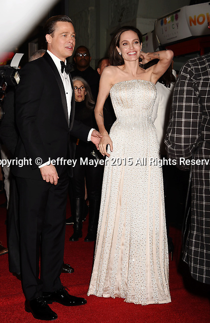 HOLLYWOOD, CA - NOVEMBER 05: Actor-producer Brad Pitt (L) and writer-director-producer-actress Angelina Jolie Pitt arrive at the AFI FEST 2015 presented by Audi Opening Night Gala Premiere of Universal Pictures' 'By The Sea' at TCL Chinese 6 Theatres on November 5, 2015 in Hollywood, California.