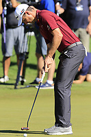 Justin Rose (ENG) putts on the 3rd green during Friday's Round 2 of the 2018 Turkish Airlines Open hosted by Regnum Carya Golf &amp; Spa Resort, Antalya, Turkey. 2nd November 2018.<br /> Picture: Eoin Clarke | Golffile<br /> <br /> <br /> All photos usage must carry mandatory copyright credit (&copy; Golffile | Eoin Clarke)