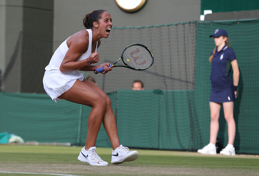 Madison Keys of USA celebrates her victory over Alize Cornet of France in their Ladies&rsquo; Singles Third Round match today<br /> <br /> Photographer Stephen White/CameraSport<br /> <br /> Tennis - Wimbledon Lawn Tennis Championships - Day 6 - Saturday 2nd July 2016 -  All England Lawn Tennis and Croquet Club - Wimbledon - London - England<br /> <br /> World Copyright &copy; 2016 CameraSport. All rights reserved. 43 Linden Ave. Countesthorpe. Leicester. England. LE8 5PG - Tel: +44 (0) 116 277 4147 - admin@camerasport.com - www.camerasport.com