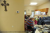 "The community area in the shelter for families and single women at the Faith Mission in Elkhart, Indiana on April 8, 2009.  Elkhart has seen a surge in unemployment in the last year from 4.5% in 2008 to 20% this year and Obama has visited the town three times, including his first stop after arriving in Washington as the U.S. President to promote ""bail out"" and stimulus spending during the current global recession."
