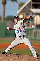 Ryota Igarashi (39) pitching a MLB rehab assignment for the St. Lucie Mets during a game vs. the Daytona Cubs May 17 2010 at Jackie Robinson Ballpark in Daytona Beach, Florida. St. Lucie won the game against Daytona by the score of 5-2.  Photo By Scott Jontes/Four Seam Images