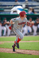 Auburn Doubledays right fielder Justin Connell (13) runs to first base during a game against the Batavia Muckdogs on September 1, 2018 at Dwyer Stadium in Batavia, New York.  Auburn defeated Batavia 10-5.  (Mike Janes/Four Seam Images)