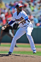 Tennessee Smokies pitcher Lendy Castillo #18 delivers a pitch during a game against Chattanooga Lookouts at Smokies Park on April 10, 2014 in Kodak, Tennessee. The Lookouts defeated the Smokies 1-0. (Tony Farlow/Four Seam Images)
