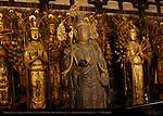 Apsara Celestial Musician, Senju Kannon 1000-armed Kannon Statues, Hinoki Japanese Cypress, 12th century, Sanjusangendo Rengeo-in, Kyoto, Japan