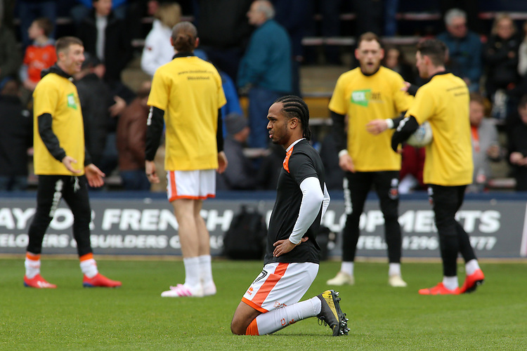 Blackpool's Nathan Delfouneso during the pre-match warm-up <br /> <br /> Photographer David Shipman/CameraSport<br /> <br /> The EFL Sky Bet League One - Luton Town v Blackpool - Saturday 6th April 2019 - Kenilworth Road - Luton<br /> <br /> World Copyright © 2019 CameraSport. All rights reserved. 43 Linden Ave. Countesthorpe. Leicester. England. LE8 5PG - Tel: +44 (0) 116 277 4147 - admin@camerasport.com - www.camerasport.com