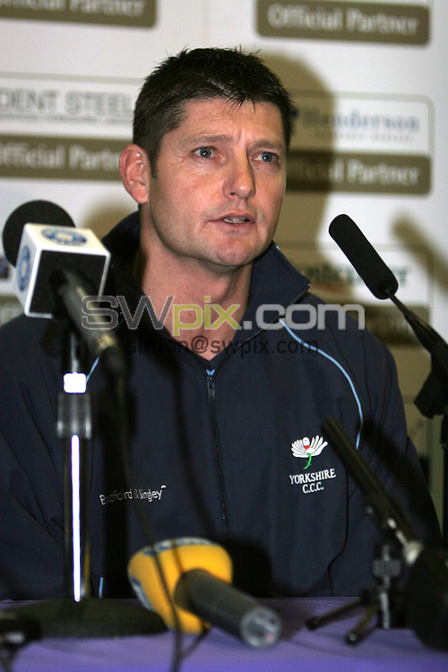 PICTURE BY VAUGHN RIDLEY/SWPIX.COM -  Cricket - Yorkshire CCC - Martyn Moxon Press Conference - Leeds Met Uni, Leeds, England - 08/03/07...Copyright - Simon Wilkinson - 07811 267706...Martyn Moxon is unveiled as the new Director of Professional Cricket at the Yorkshire CCC.