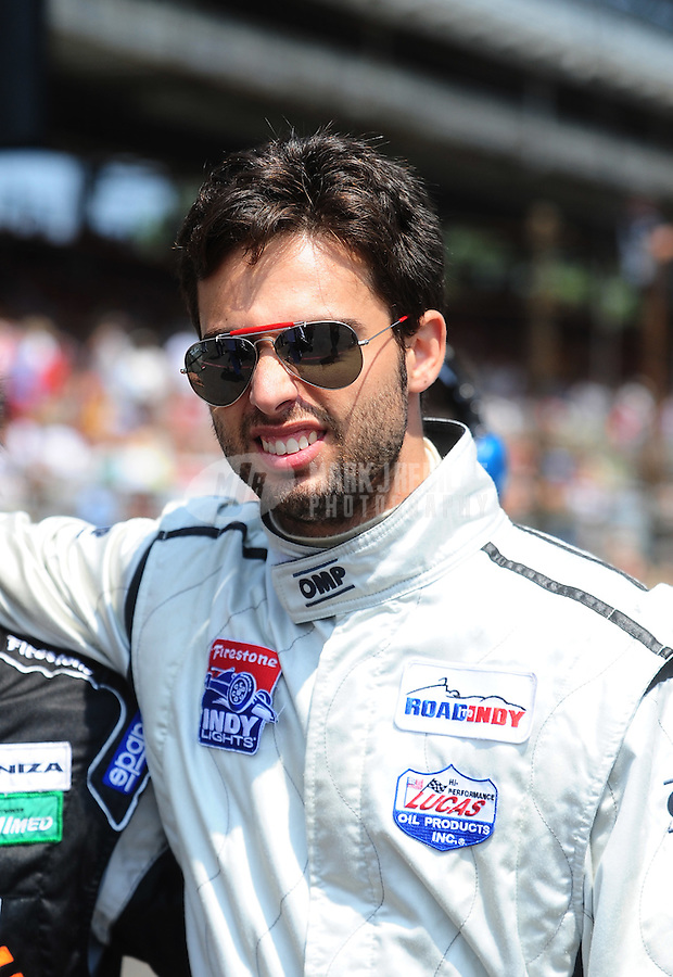 May 28, 2010; Indianapolis, IN, USA; Indy Light Series driver Adrian Campos Jr. during the Freedom 100 at the Indianapolis Motor Speedway. Mandatory Credit: Mark J. Rebilas-