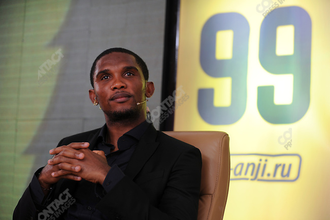 Samuel Eto'o makes his first appearance at the home stadium of his new football (soccer) team Anzhi Makhachala in Dagestan, Russia. Eto'o, a star forward and native of Cameroon, left the Italian club Inter Milan for Anzhi in a dealing making him one of the highest paid footballers in the world. September 10, 2011