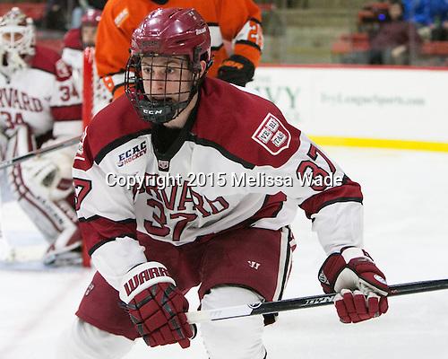 Desmond Bergin (Harvard - 37) - The Harvard University Crimson defeated the visiting Princeton University Tigers 5-0 on Harvard's senior night on Saturday, February 28, 2015, at Bright-Landry Hockey Center in Boston, Massachusetts.