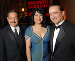 From left: Ron Acosta, Dr. Laura Murillo and George Y. Gonzalez at the Hispanic Chamber of Commerce's annual Triunfando Awards Show and Dinner at the Hobby Center Saturday Nov. 14,2009. (Dave Rossman/For the Chronicle)