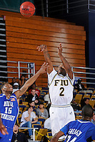 25 February 2010:  FIU's Stephon Weaver (2) shoots over MTSU's James Washington (15) in the second half as the Middle Tennessee Blue Raiders defeated the FIU Golden Panthers, 74-71, at the U.S. Century Bank Arena in Miami, Florida.