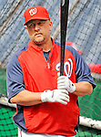 2 April 2011: Washington Nationals outfielder Matt Stairs awaits his turn in the batting cage prior to a game against the visiting Atlanta Braves at Nationals Park in Washington, District of Columbia. The Nationals defeated the Braves 6-3 in the second game of their season opening series. Mandatory Credit: Ed Wolfstein Photo