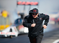 Feb 11, 2019; Pomona, CA, USA; Crew member for NHRA top fuel driver Billy Torrence during the Winternationals at Auto Club Raceway at Pomona. Mandatory Credit: Mark J. Rebilas-USA TODAY Sports