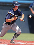 Centennial's Hayden Grant bunts in the NIAA Division I state baseball championship game against Liberty, in Reno, Nev., on Saturday, May 24, 2014. Liberty won 5-3. (Las Vegas Review-Journal, Cathleen Allison)