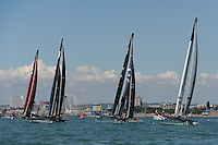 Groupama Team France, JULY 23, 2016 - Sailing: Groupama Team France leads the fleet during day one of the Louis Vuitton America's Cup World Series racing, Portsmouth, United Kingdom. (Photo by Rob Munro/Stewart Communications)