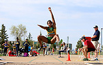 FARGO, ND - MAY 12: Rose Jackson from North Dakota State leaps during the women's long jump finals at the 2017 Summit League Outdoor Championship Friday afternoon at Ellig Sports Complex in Fargo, ND. (Photo by Dave Eggen/Inertia)