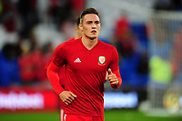 Connor Roberts of Wales during the pre-match warm-up for the UEFA Nations League B match between Wales and Ireland at Cardiff City Stadium in Cardiff, Wales, UK.September 6, 2018
