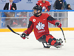 Pyeongchang, Korea, 10/3/2018-Billy Bridges of Canada plays Sweden in hockey during the 2018 Paralympic Games in PyeongChang. Photo Scott Grant/Canadian Paralympic Committee.