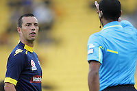 Mariners captain John Hutchinson confronts referee Lucien Laverdurie during the A-League football round six match Wellington Phoenix and Central Coast Mariners at Westpac Stadium, Wellington, New Zealand on Sunday, 11 November 2012. Photo: Dave Lintott / lintottphoto.co.nz