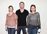 """Kellie Overby, Lee Tergesen and Amy Brenneman.attending the Meet & Greet for the Playwrights Horizons production of """"Rapture, Blister, Burn'  at their rehearsal studio in New York City on 4/17/2012"""