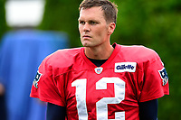 August 7, 2017: New England Patriots quarterback Tom Brady (12) waits to drill during a joint practice at New England Patriots training camp where they hosted the Jacksonville Jaguars on the practice fields at Gillette Stadium, in Foxborough, Massachusetts. Eric Canha/CSM