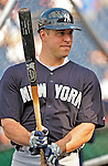 15 June 2012: New York Yankees first baseman Mark Teixeira awaits his turn in the batting cage prior to a game against the Washington Nationals at Nationals Park in Washington, DC. The Yankees defeated the Nationals 7-2 in the first game of their 3-game series. Mandatory Credit: Ed Wolfstein Photo
