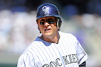 09 April 2010: Colorado Rockies shortstop Troy Tulowitzki during a Major League Baseball game between the Colorado Rockies and the San Diego Padres at Coors Field in Denver,  Colorado. The Rockies beat the Padres 7-0 in the Coors Field home opener.  *****For Editorial Use Only*****