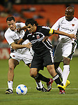 20 Octoboer 2007: DC's Marco Etcheverry is fouled by Hollywood's Olivier Biaggi (l) and Dante Washington (r) setting up a game ending and game winning penalty. The 1997 DC United team defeated Hollywood United 2-1 in the Marco Etcheverry tribute match played before a regular season MLS game at RFK Stadium in Washington, DC.