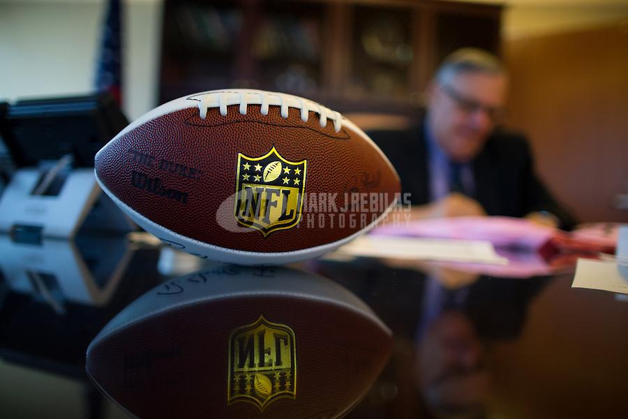 Jan 21, 2015; Phoenix, AZ, USA; Detailed view of an NFL football on the desk of Maricopa County sheriff Joe Arpaio in his office in downtown Phoenix. Mandatory Credit: Mark J. Rebilas-