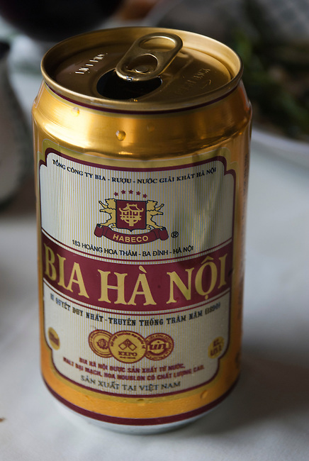 Hanoi, Vietnam, A gold and red can of locally brewed Bia Ha Noi beer. photo taken July 2008.
