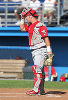 Williamsport Crosscutters catcher Cameron Rupp (50) during a game vs the Batavia Muckdogs at Dwyer Stadium in Batavia, New York July 25, 2010.   Batavia defeated Williamsport 8-1.  Photo By Mike Janes/Four Seam Images