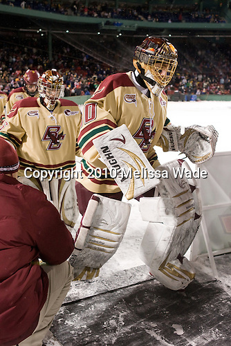 Parker Milner (BC - 35), Chris Venti (BC - 30) - The Boston University Terriers defeated the Boston College Eagles 3-2 on Friday, January 8, 2010, at Fenway Park in Boston, Massachusetts, as part of the Sun Life Frozen Fenway doubleheader.