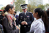 Knife Crime Summit <br /> London 2016 <br /> MOPAC <br /> at Friend's Meeting House, London, Great Britain <br /> 13th October 2016 <br /> <br /> Sir Bernard Hogan Howe <br /> Metropolitan Chief Police Commissioner <br /> talks to some delegates outside during the 2nd fire alarm evacuation <br /> <br /> <br /> <br /> Photograph by Elliott Franks <br /> Image licensed to Elliott Franks Photography Services
