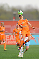 Yael Averbuch (13) of Sky Blue FC heads the ball. Sky Blue FC defeated the Chicago Red Stars 1-0 in a Women's Professional Soccer (WPS) match at Yurcak Field in Piscataway, NJ, on April 11, 2010.