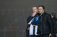 Wycombe Wanderers Assistant Manager Richard Dobson & Wycombe Wanderers Manager Gareth Ainsworth during the Sky Bet League 2 match between Wycombe Wanderers and Morecambe at Adams Park, High Wycombe, England on 2 January 2016. Photo by Andy Rowland / PRiME Media Images