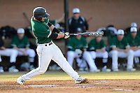 Designated hitter AJ Mackey (13) of the University of South Carolina Upstate Spartans in a game against the Citadel Bulldogs on Tuesday, February, 18, 2014, at Cleveland S. Harley Park in Spartanburg, South Carolina. Upstate won, 6-2. (Tom Priddy/Four Seam Images)