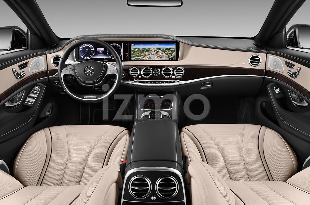 Stock photo of straight dashboard view of 2017 Mercedes Benz S-Class Executive-Line 4 Door Sedan Dashboard